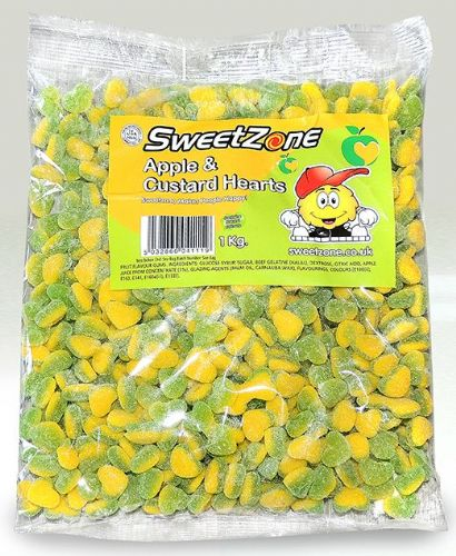 SZ32 SWEETZONE APPLE & CUSTARD HEARTS 1KG BAG